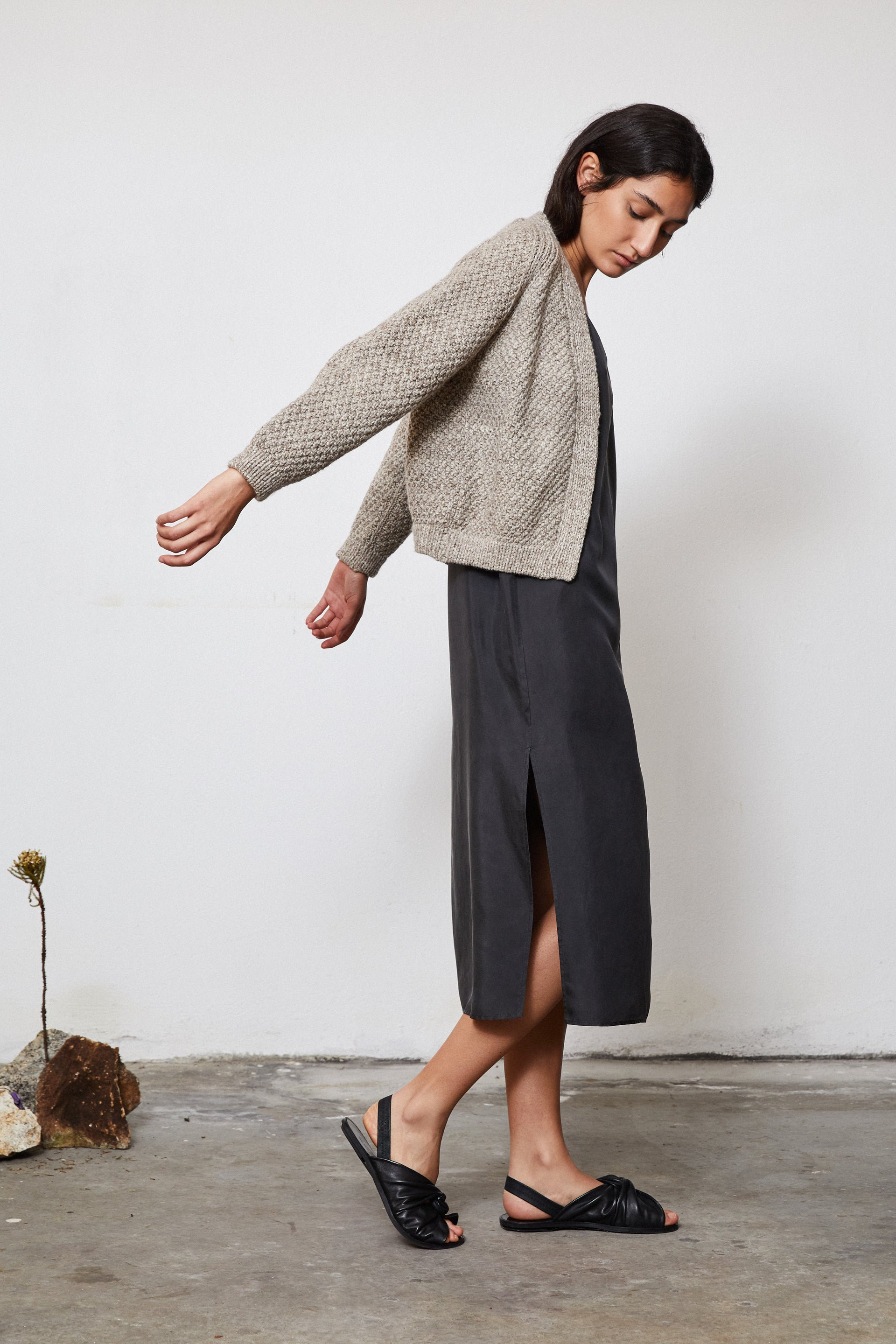 HAND KNITTED WOOL CARDIGAN - STONE