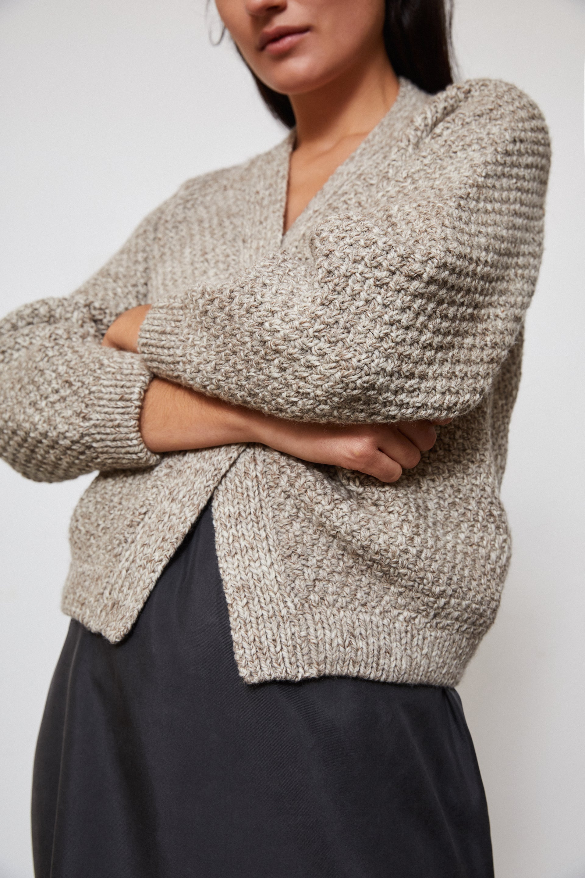 HAND KNITTED SAUCO WOOL CARDIGAN - STONE