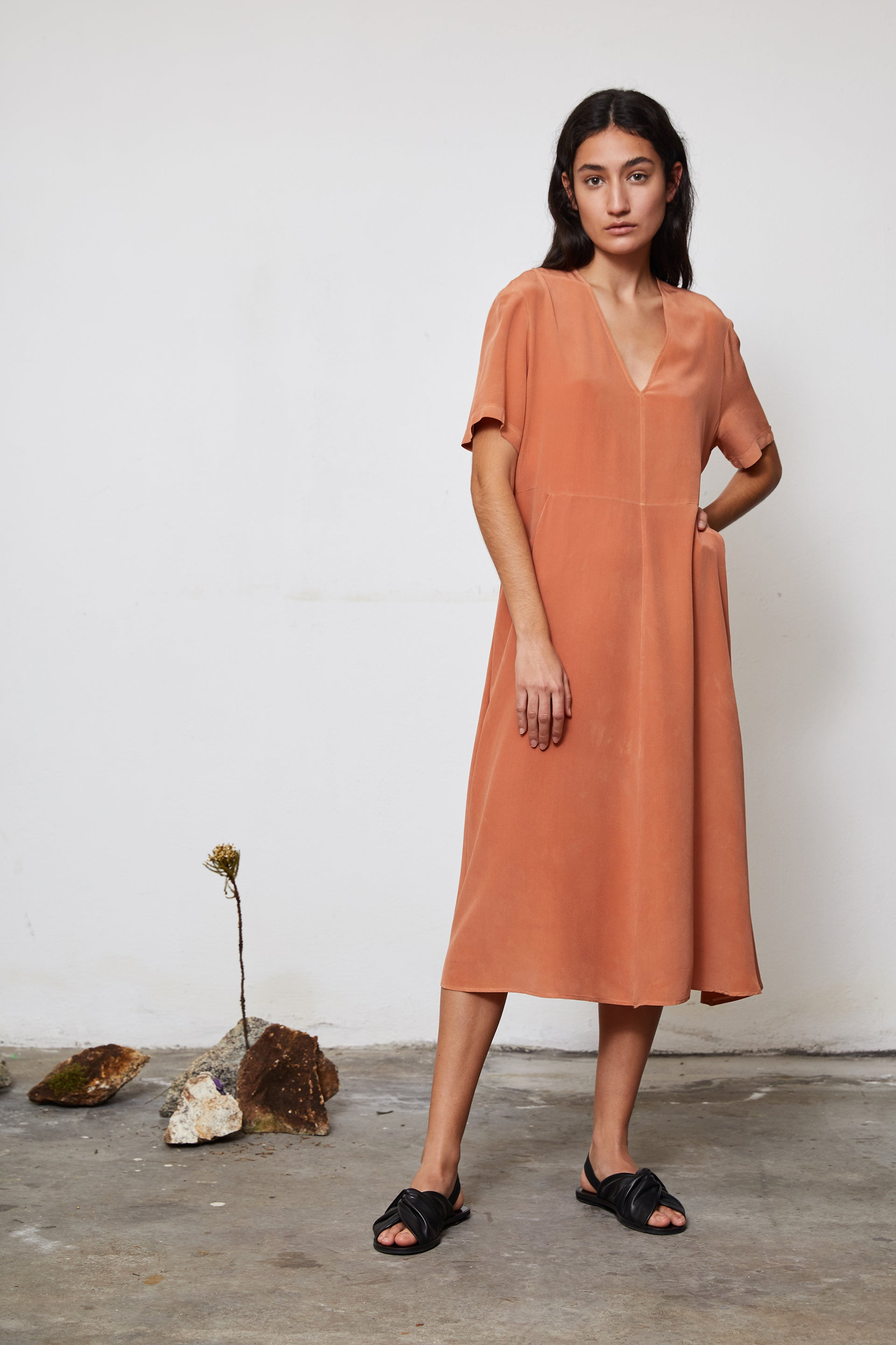 HAND DYED SILK FLARED DRESS - LOQUAT