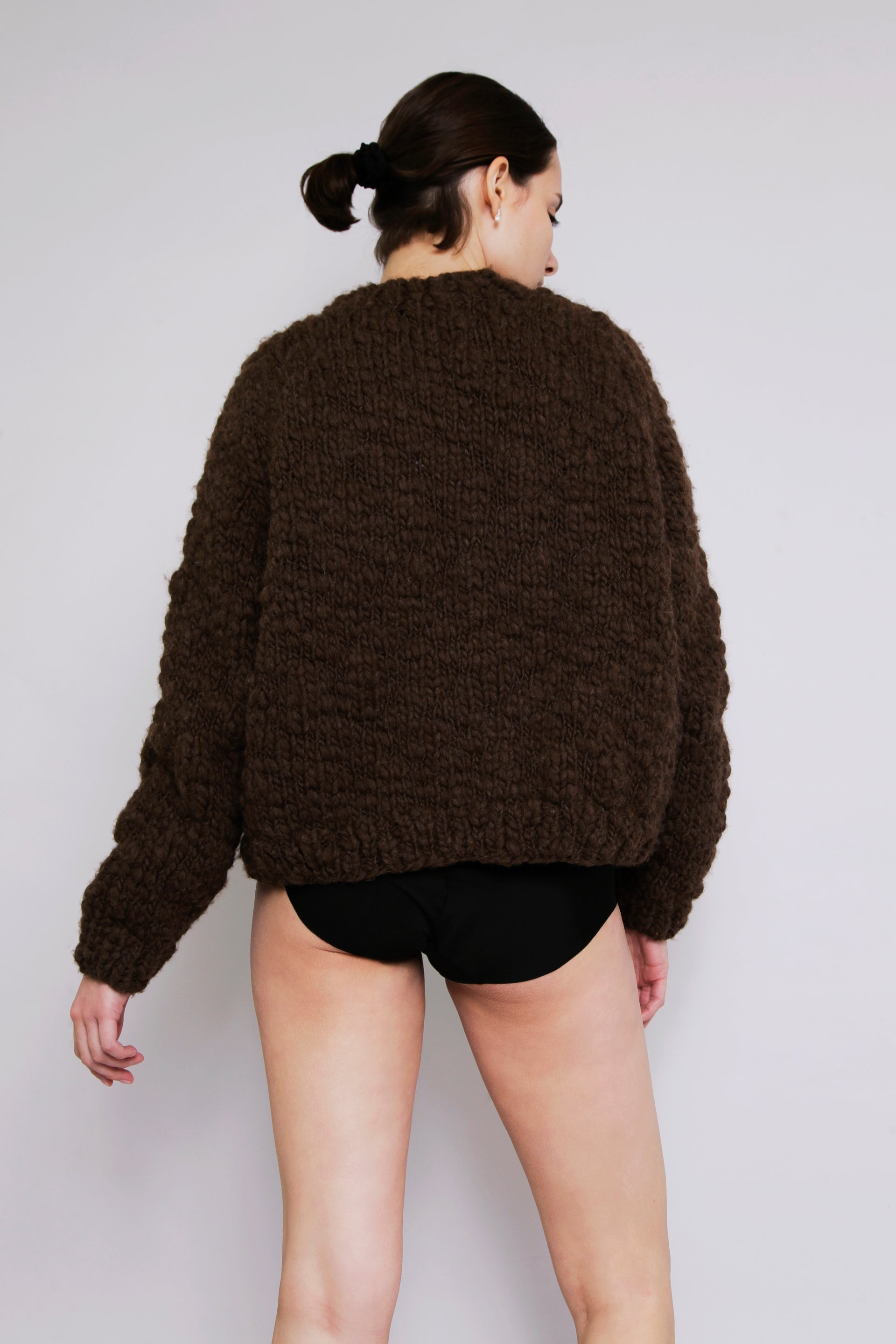 HAND KNITTED CAVEN WOOL JUMPER - EARTH