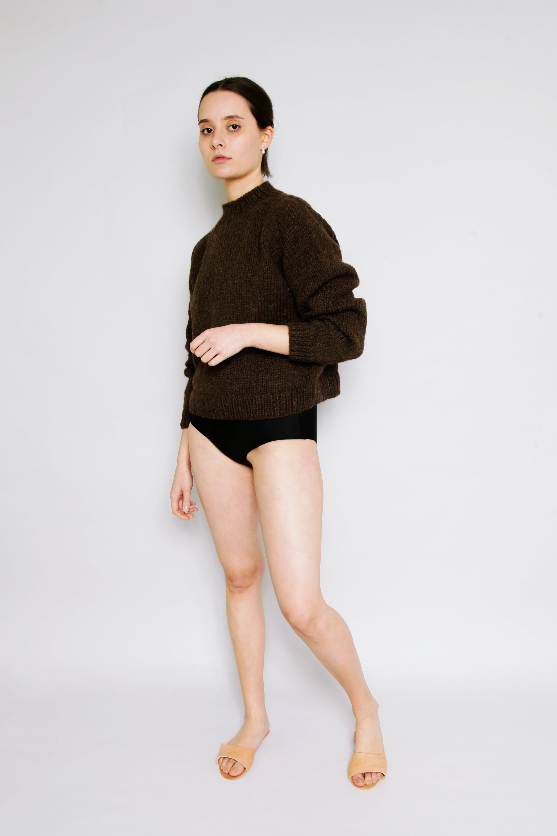 HAND KNITTED MOLLE WOOL JUMPER - EARTH