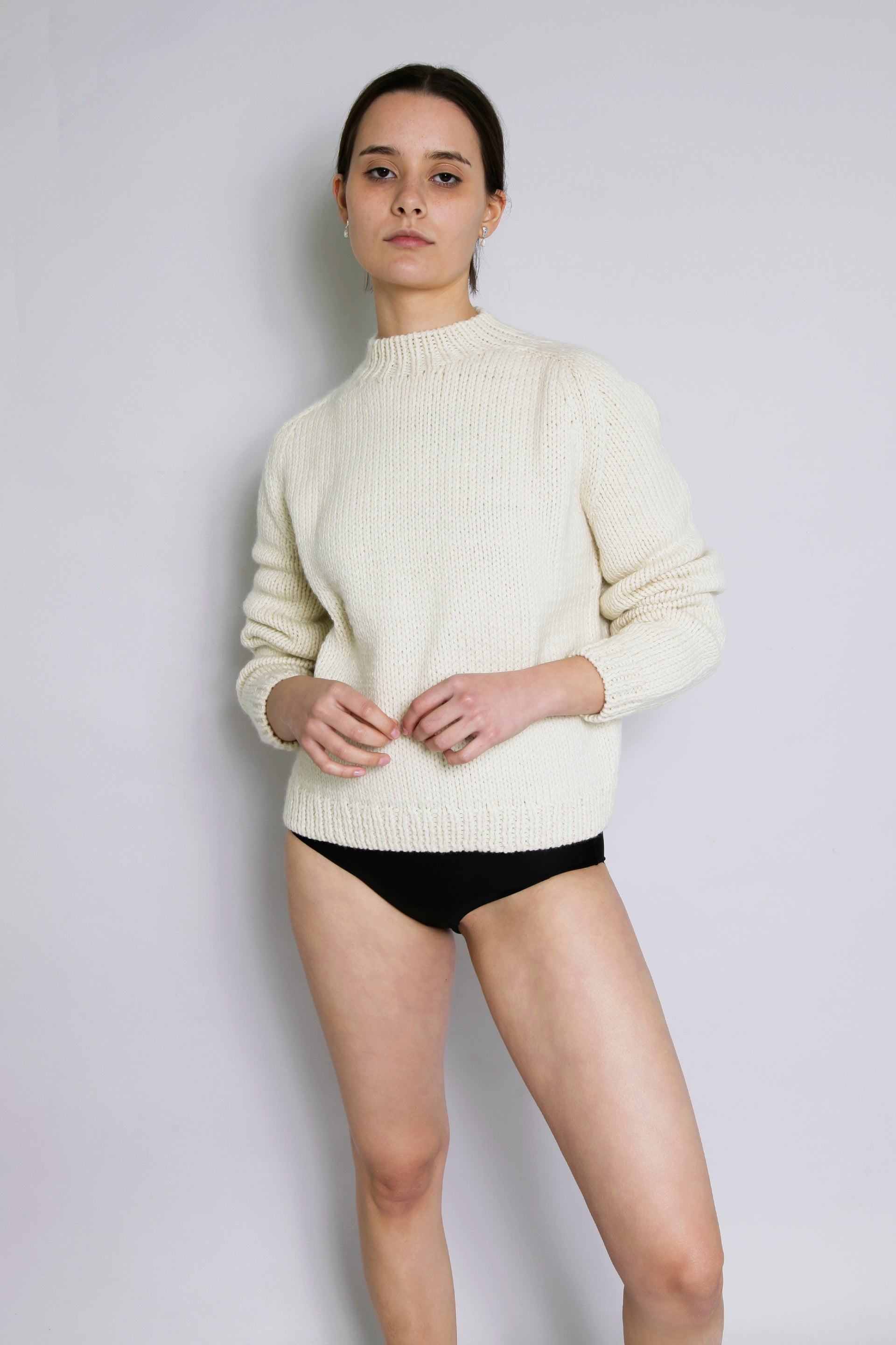 HAND KNITTED MOLLE WOOL JUMPER - IVORY