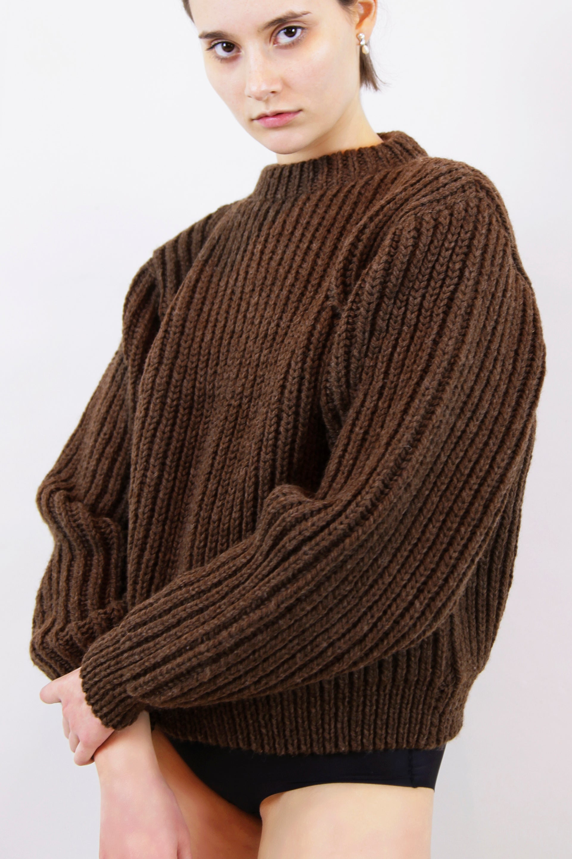HAND KNITTED OMBU WOOL JUMPER - EARTH
