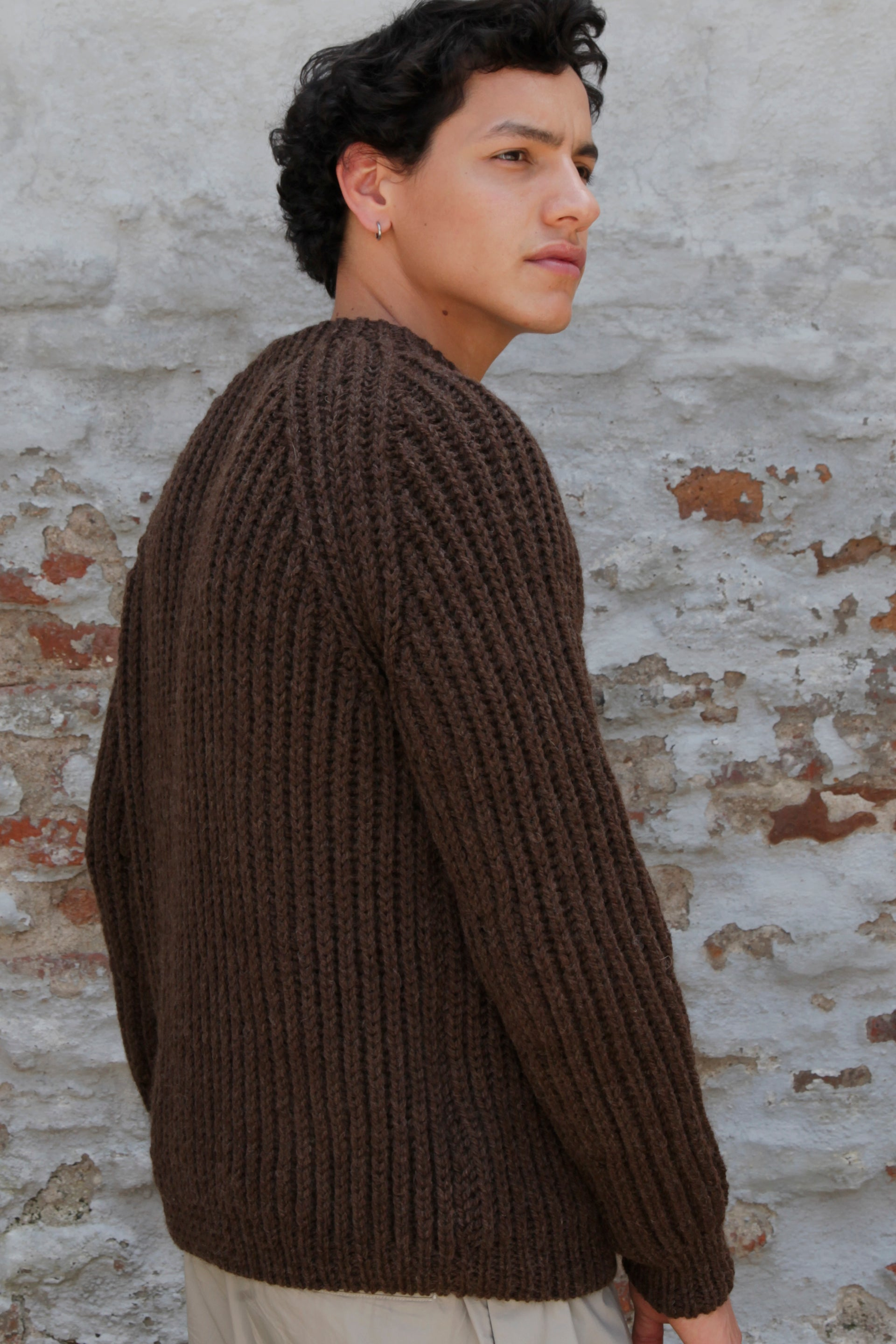 MEN´S HAND KNITTED WOOL JUMPER - EARTH