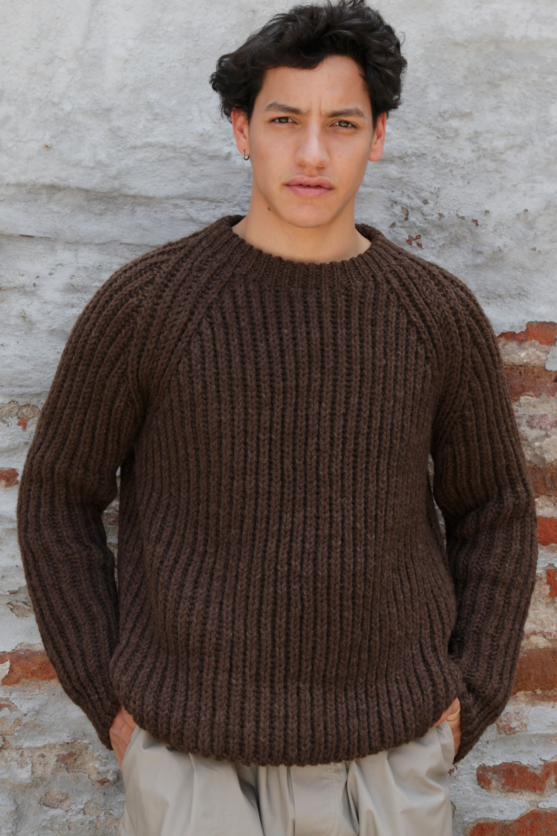 HAND KNITTED YABO WOOL JUMPER - EARTH