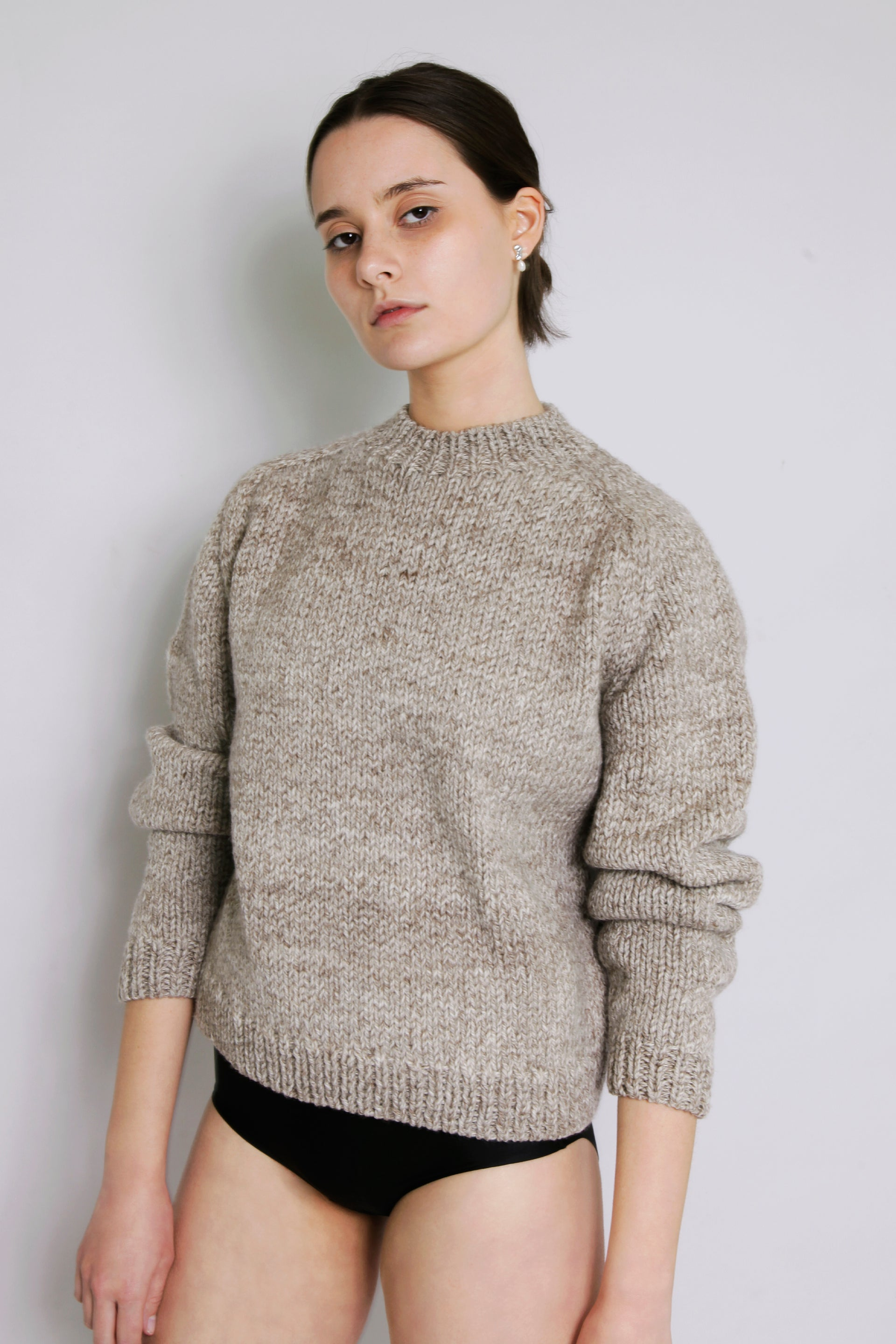 HAND KNITTED MOLLE WOOL JUMPER - STONE