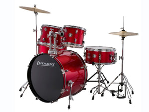 Ludwing LC17014 DIR 5 Piece Complete Drum Set Red Foil
