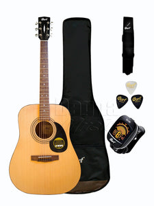 Cort AD 810 OP Acoustic Guitar Pack with Gig Bag, E310C Tuner, Picks & Strap