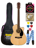 Fender CC- 60SCE PACK Natural Concert Electro Acoustic Guitar - Walnut Fretboard