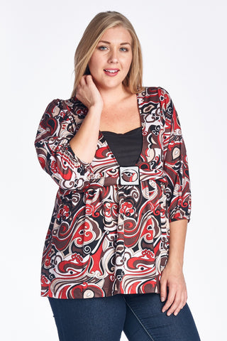 Women's Plus Size Abstract Surplice Top