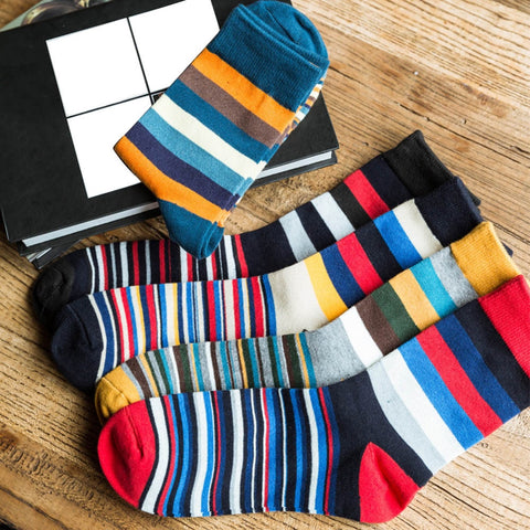striped color socks.