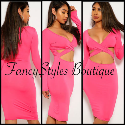 Sexy Rose Long Sleeve Bodycon Dress