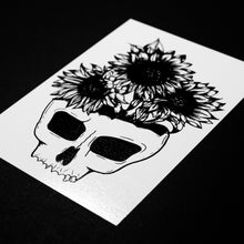 "Load image into Gallery viewer, Sunflower Skull of Your Enemies 5"" x 7"" Print"