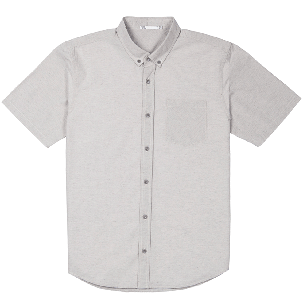 Front facing flat lay of a short sleeve, heather grey, button up shirt.