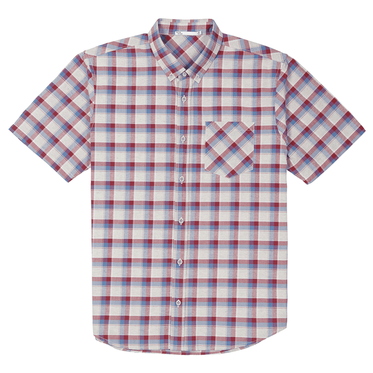 Front facing flat lay of a short sleeve, plaid, button up shirt.