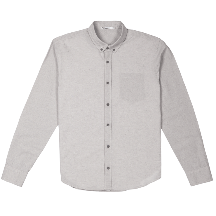 Front facing flat lay of a long sleeve, heather grey, button up shirt.