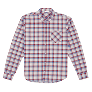 Front facing flat lay of a long sleeve, plaid, button up shirt.