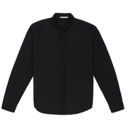 Front facing flat lay of a long sleeve, black oxford shirt.
