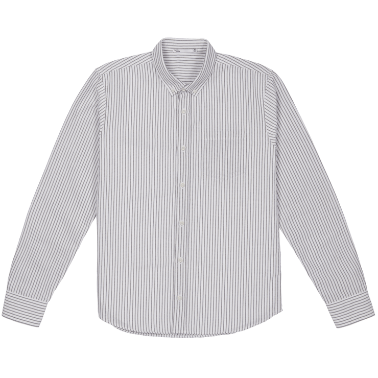 Front facing flat lay of a long sleeve, striped oxford shirt.