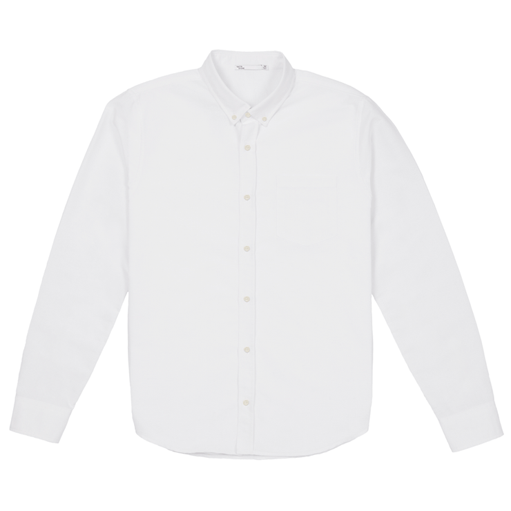 Front facing flat lay of a long sleeve, white, oxford shirt.