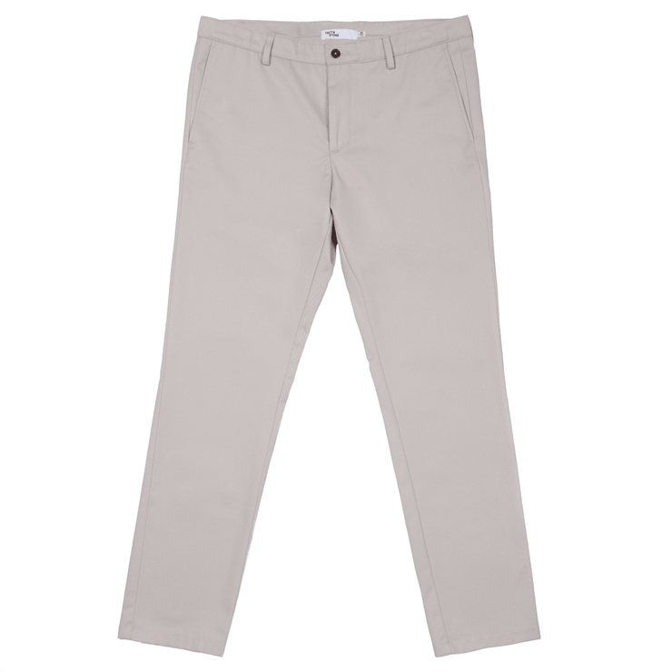 Front facing flat lay of khaki, sustainable chinos.