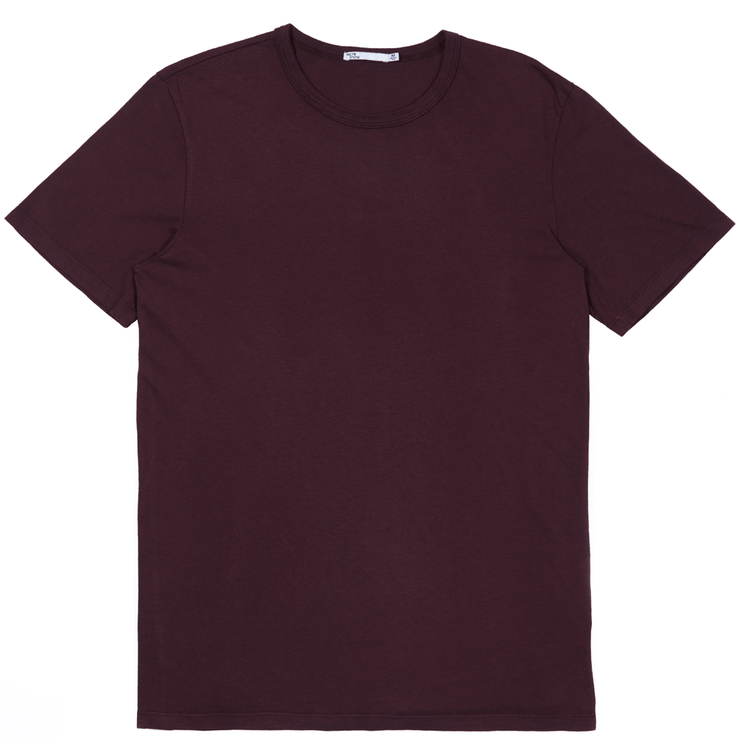 Front facing flat lay of a short sleeve, burgundy tee shirt.