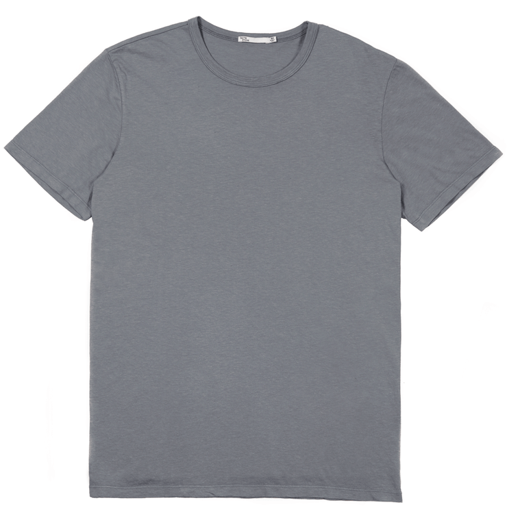 Front facing flat lay of a slate, short sleeve tee shirt.