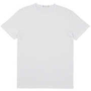 Front facing flat lay of a short sleeve, white tee shirt.
