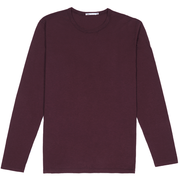 Front facing flat lay of a long sleeve, burgundy tee shirt.