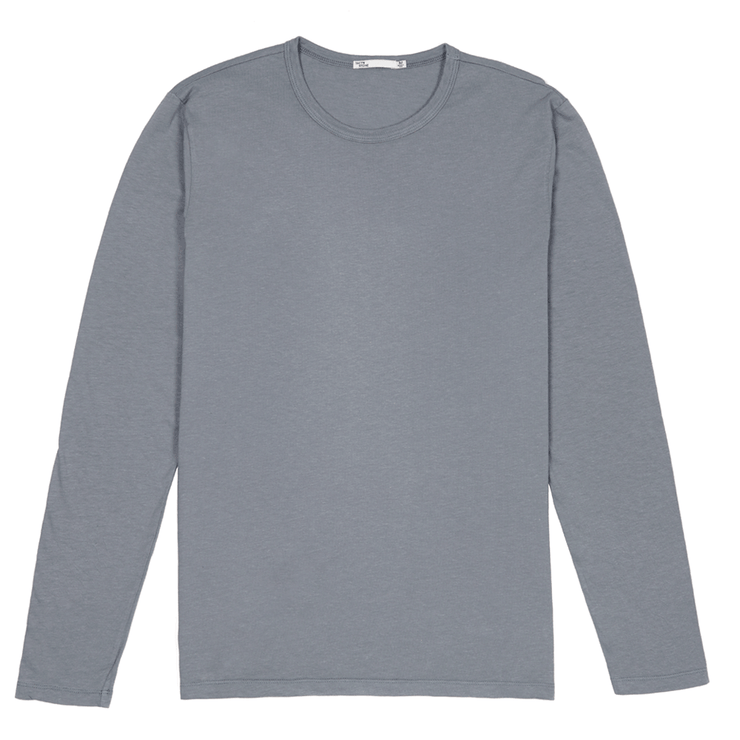 Front facing flat lay of a long sleeve, slate, tee shirt.