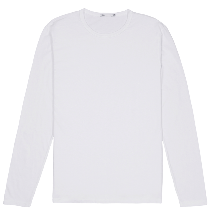 Front facing flat lay of long sleeve white tee shirt.