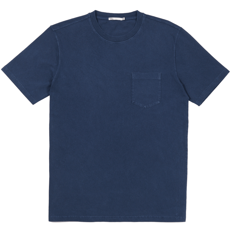 Front facing flat lay of a navy, short sleeve, pocket tee shirt.