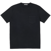 Front facing flat lay of a black, short sleeve, pocket tee shirt.