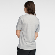 Model facing back wearing a short sleeve, heather grey tee shirt.
