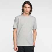 Model front facing wearing a heather grey, short sleeve, pocket tee.