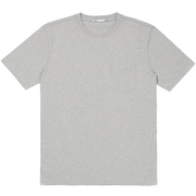 Front facing flat lay of a short sleeve, heather grey, pocket tee shirt.
