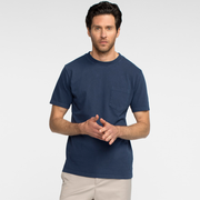 Model front facing wearing a navy, short sleeve, pocket tee shirt.