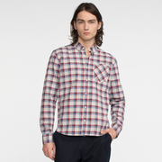 Model front facing wearing a long sleeve, plaid, button up shirt.