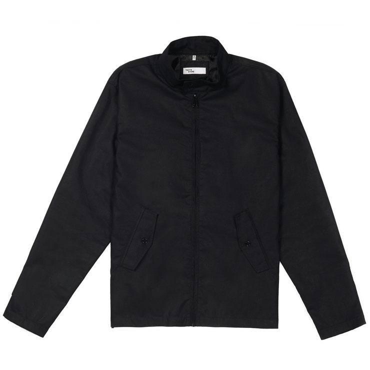 Front facing flat lay of a zip up, black, blouson jacket.
