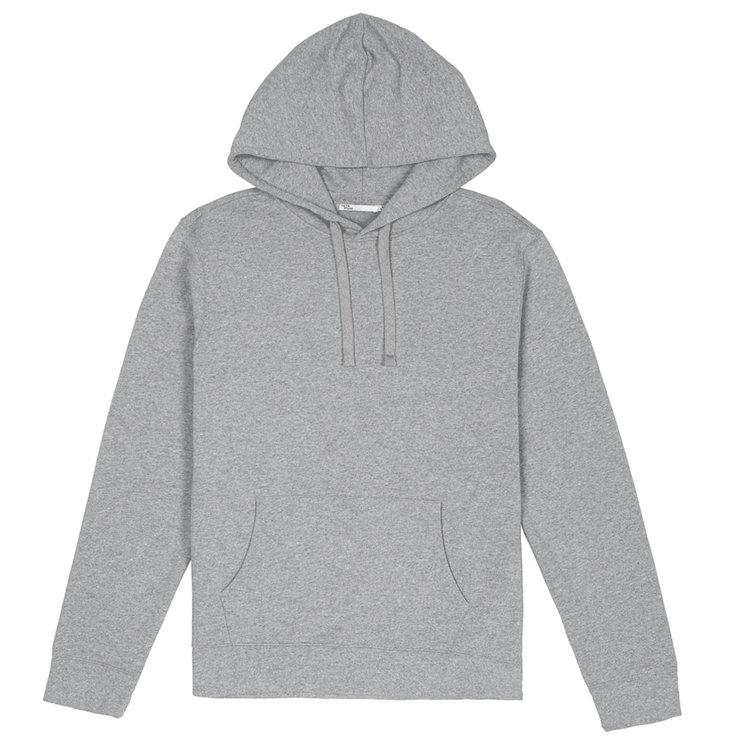 Front facing flat lay of a sustainable heather grey hooded sweatshirt.