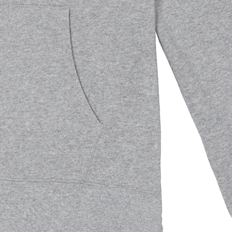 Zoomed in flat lay focused on the front pouch pocket of a hooded heather grey sweatshirt.