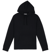 Front facing flat lay of a black hooded sweatshirt.