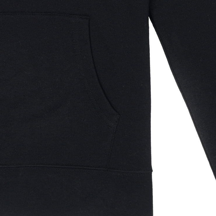 Front facing flat lay of front pouch pocket of a black hooded sweatshirt.