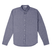 Front facing flat lay of a long sleeve, chambray, button up shirt.