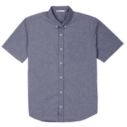 Front facing flat lay of a short sleeve, chambray, button up shirt.