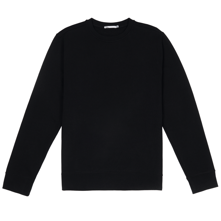 Front facing flat lay of black sustainable crew neck sweatshirt.