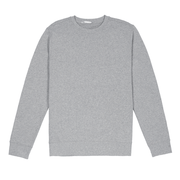 Front facing flat lay of heather grey sustainable crew neck sweatshirt.
