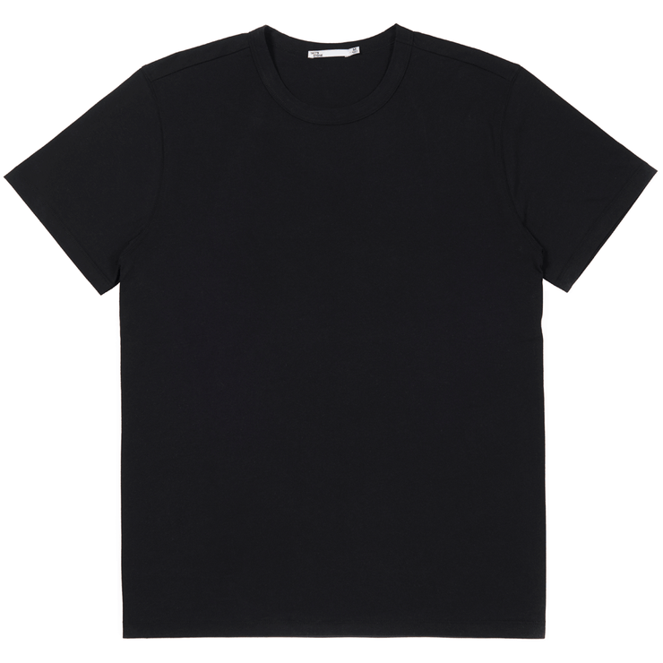 Black tee shirt flat lay. Sustainable black tee shirt.