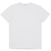 White tee shirt lay flat. Organic cotton and recycled polyester performance tee shirt.