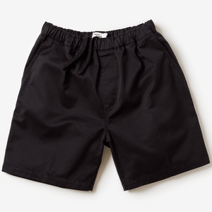 Front facing flat lay of black colored, drawstring waist band shorts.